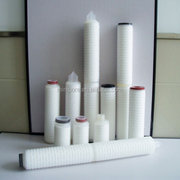0.22 / 0.45 /0.65 micron pleated membrane filter cartridge , in line pp water filter cartridge