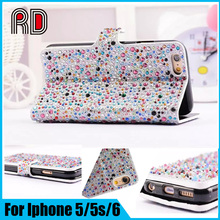 High Professional Manufacturer Diamond Bling Holster Mobile Phone Flip Cover Case for Iphone 5/5S/6