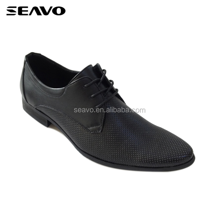 SEAVO SS18 new design good quality flat wearable sole black men formal shoes
