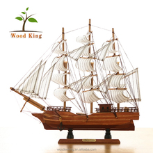 Indoor Household Exquisite Adornment Wholesale Creative Office Space Wooden Handicraft Sailing Miniature Ship Models For Sale