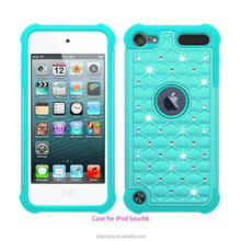 UV Printing Oil Coating Bling Bling Diamond Case For Touch 6