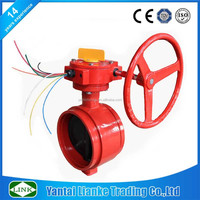 cast iron gear worm operate grooved type viton seat butterfly valve