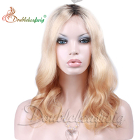 Ombre hair 100% indian Remy ombre hair extension 16inch Unprocessed Full lace Wig t-clolor 4#/613#/30#