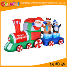 Outdoor Christmas led lights inflatable train with santa