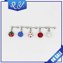 New arrival fashion dangle body jewelry shinning flower earrings colorful ear crystal studs with ball stud joint