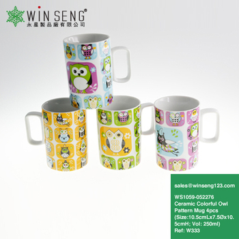 Ceramic High Quality Colorful Owl Pattern Mugs 4pcs WS1059-052276