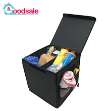 2 Compartment Multifunction Folding Car Cargo Trunk Organizer Tools Food Storage Bins Organizer with Lids