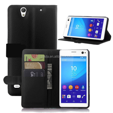 Blank Sublimation Microfiber Cell Phone Wallet Case Folio Flip Leather Wallet Flap Pouch Phone Case for Sony Xperia C4