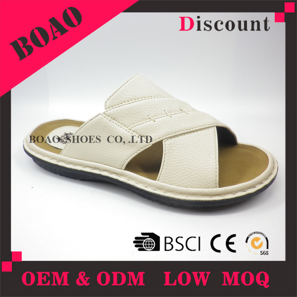 Indoor men leather bathroom custom white pu thick sole house slippers