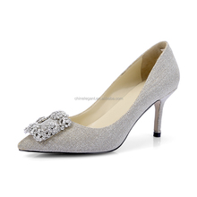 New Elegant Classic Rhinestone Silver Shiny High Heel Wedding Party Pumps Bridal Shoes