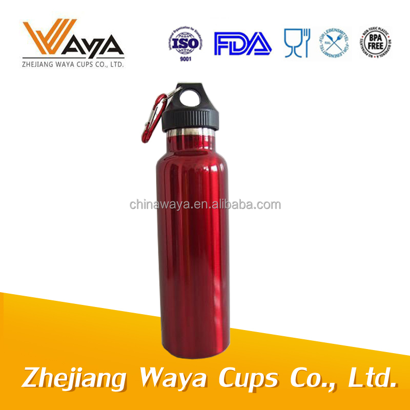 RED 750ML sports water bottle double wall stainless steel with carabiner