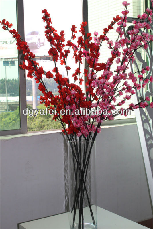 real touch fake red plum blossom flowers