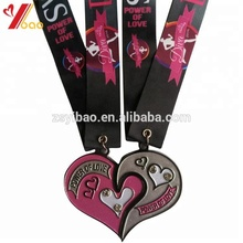 Customized design heart shape sport medals/High class medal