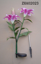 2016 good quality solar lighted lily flower stake garden decoration new
