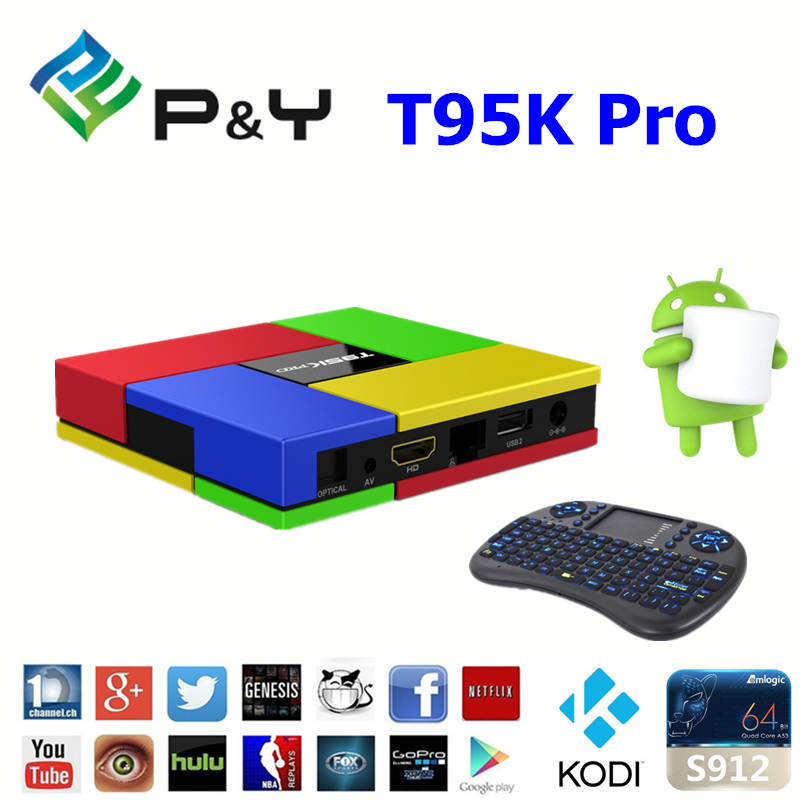 2017 P&Y T95K Pro s912 2G 16G set top box support google play apk install ott tv box dual WIFI KODI TV BOX