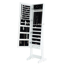 New Mirrored Jewellery Jewelry Armoire Cabinet Standing Mirror