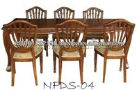 Set of Dining Table and Six Vintage French Provincial Cabriole Leg