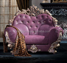 Royal Elegant Floral Carving Purple Leather Tufted Sofa of European Style