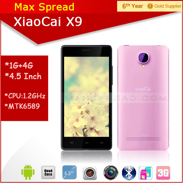 Hottest!! 5.0 inch QHD dual sim quad core mtk6582 dual camear 8MP cheap xiaocai x9 android pink smartphone