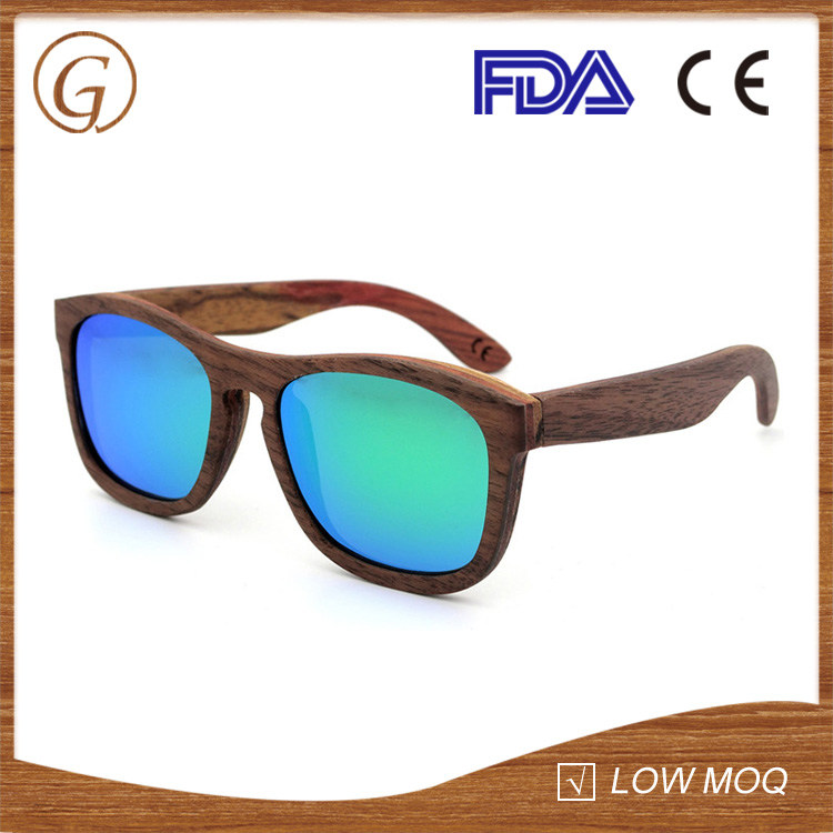 low moq fashion wooden sunglasses with high quality REVO mirror lens