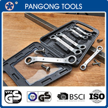 Quality Flat Reversible Ring Ratchet Wrench Spanner Set 6-19mm Hand Tool Kit