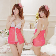 Pink Open Front Sexy Lingerie Babydolls with G-string for Hot Girls Women