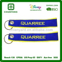 Hot sell custom genuine leather key chain with embroidery logo