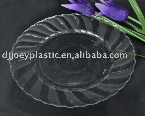 "10"" disposable clear glass like plates round"