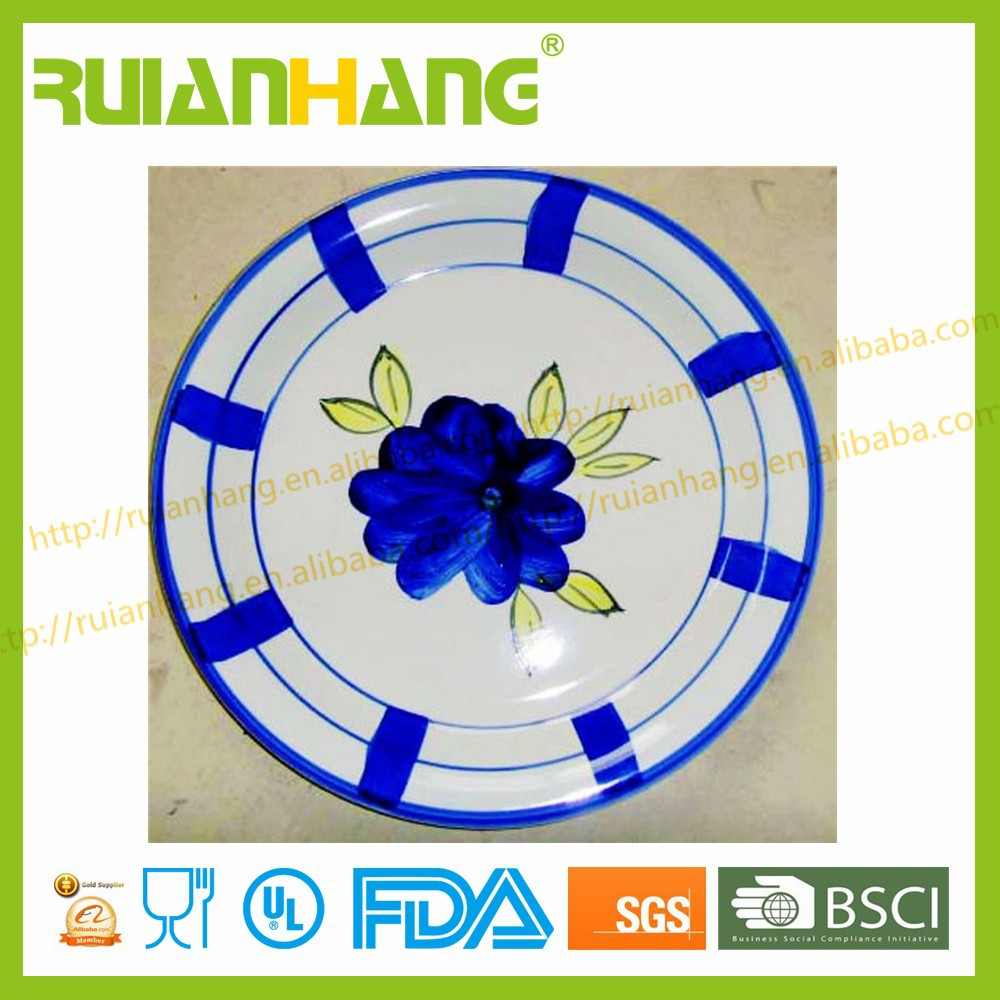 Blue glazed stoneware plates dishes for restaurant