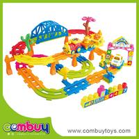 Top sale cartoon set building blocks toys rubber track vehicle