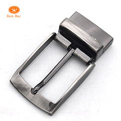 nickel brushed 35mm custom metal single prong rotatable pin buckles with clip for reversible belts