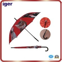 Cat and dog curved handle straight umbrella