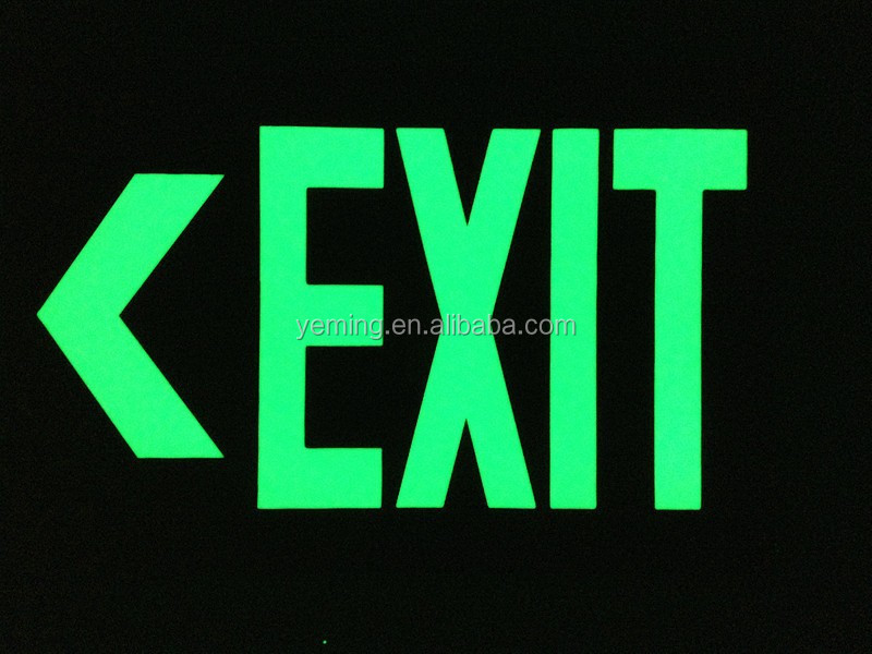 photoluminescent exit sign, luminous exit signage, glow in the dark sign
