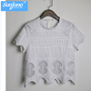 High quality Womens 100% Cotton short sleeve Soild cut embroidery Blouse