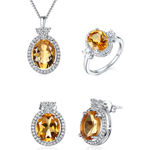 Oval shaped 925 sterling silver genuine citrine jewelry set