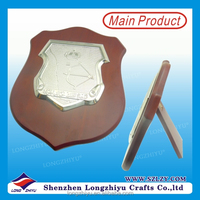 OEM Medals Wooden Plaque Metal Award Plate with Wood Base for souvenir