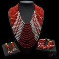 2017 Attracitve jewelry sets red bead jewellery set high end costume jewelry