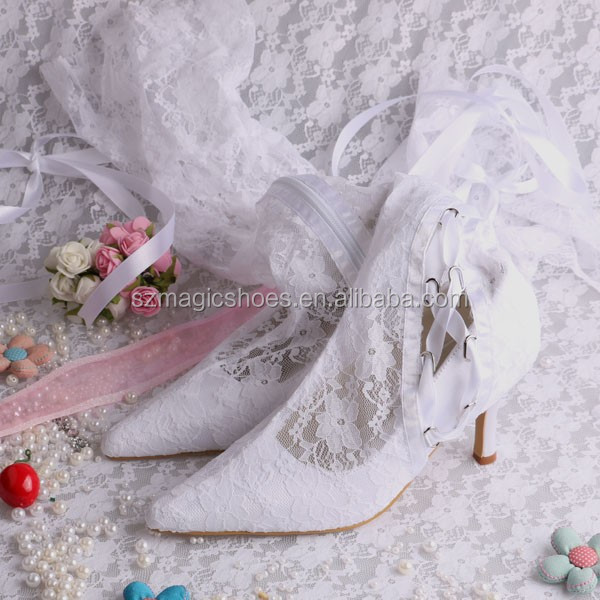 Beautiful Lace White Boots For Wedding