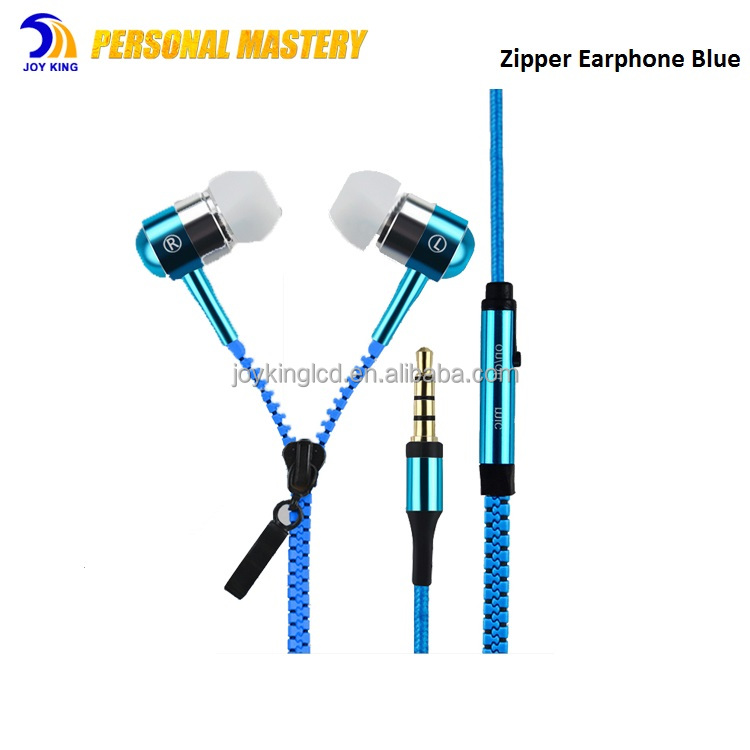 Fashion Metal Shell Zipper Style In Ear Earphone With Mic , Bass Headphones Earphone For Portable Media Player