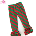 Christmas Icing Ruffle Pants Red and Green Striped Knit Cotton Size 6M to 12Y Children Baby Ruffle Leggings