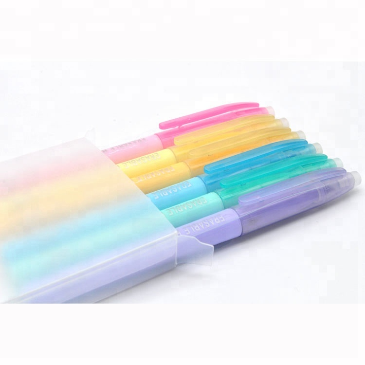 6 pcs pastel color <strong>friction</strong> erasable highlighter markers for office