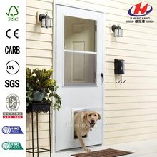 32 in. x 80 in. K900 Series White Vinyl Self-Storing Pet Storm Door with Black Hardware