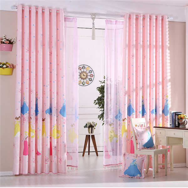 beautiful pink princess pattern textile fabric printing curtain for children bedroom