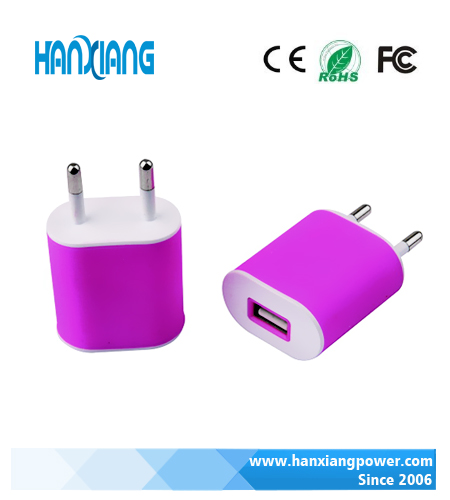 Foshan Manufacturer Colorful Flat USB Wall Charger for Mobile Phone, 5V 1000mA Cell Phone Charger with RoHS CE FACC