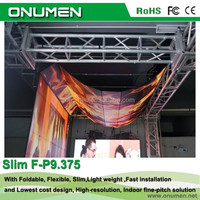 Onumen New flexible P9.375 full color portable led display screen video for stage background with slim body fast install
