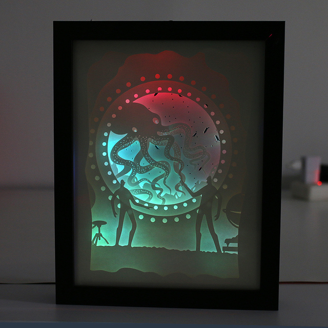 Automatically color change 3D wall art shadow box frame paper cut night light box