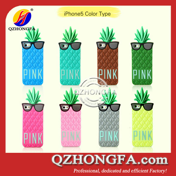 New Fashion Summer Beach Pineapple Sun-Glasses Silicone Case for iPhone 5