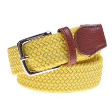 high Quality Multicolor Mens Braided Elastic canvas Waist Belt with zinc alloy buckle