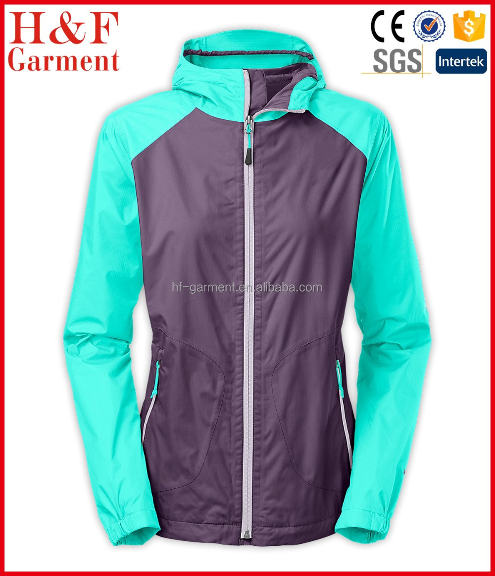 Ladies fancy coat for rain two tone in aqua and gray