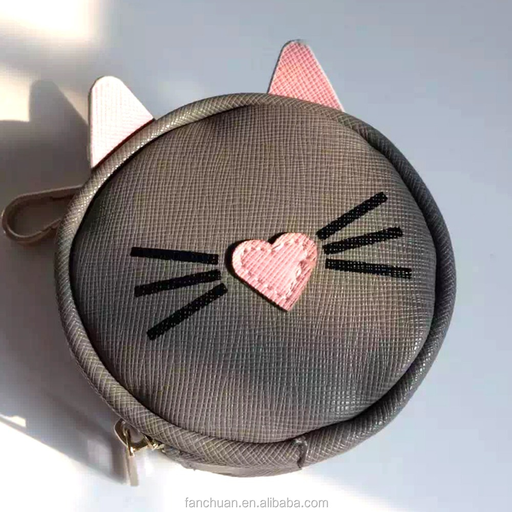 Grey Macaron Round Zipper PU Leather Cat Coin Bag